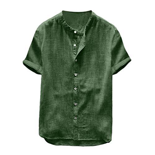 KPILP Herren Mode Herbst Winter Übergröße Bettwäsche aus Baumwolle Künstler Hemden lässig Lange Ärmel Ständer Hals Oberteile Lose Bluse Outwear(X1-grün,XL)