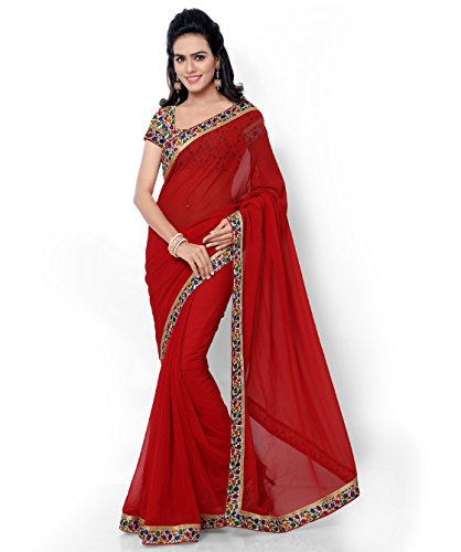 Florence Faux Georgette Red Embroidered Saree with Blouse Piece