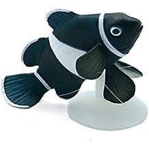 wibille fluorescente gracioso y poco payaso peces acuario Fish Tank Decoración en blanco y negro con ventosa