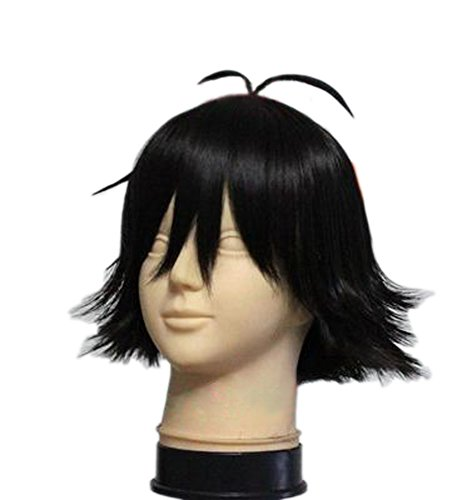 Ash Ketchum Perücke Wig Anime Cosplay Kostüm Schwarz Kurze Glatte Haare Zubehör Hair (Misty Ash Und Kostüme)