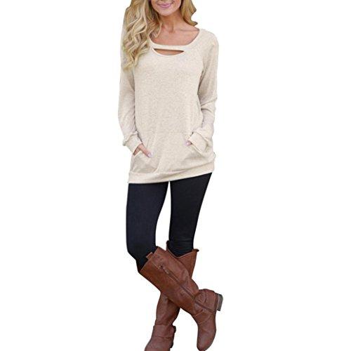 Damen Oberteile,DOLDOA Einfarbig O-Ausschnitt Langarm Sweatshirt Tops Bluse Shirt mit Tasche (EU: 44, Beige,O-Ausschnitt Langarm Sweatshirt mit Tasche) (Flirt Rock Set)