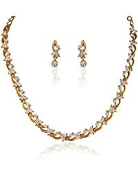 c05f8a56d0c Rich Lady Classy Gold Plated Australian Diamond Stone Necklace Set for Women