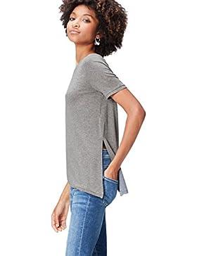 FIND Camiseta con Detalle Metalizado y Bajo Asimétrico para Mujer