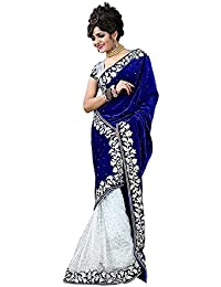 SweetiePie Fashion Women's Velvet And Net Designer Saree ( Blue, Velvet)