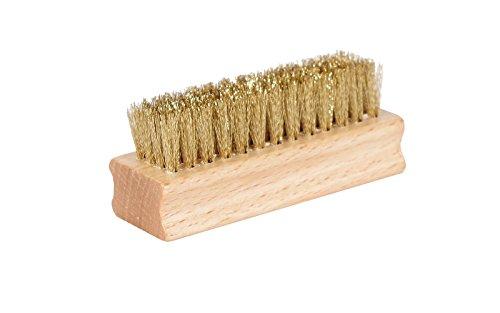 Kaps Cepillo para zapato de latón de la calidad, práctico y portátil, agaradera de madera, cerda de latón durable, hecho en Europa