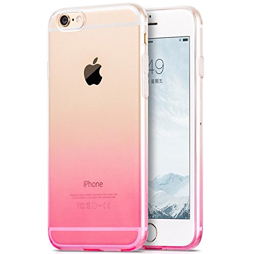 Egotude Gradient Soft Silicone Transparent Back Cover Case for Apple iPhone 6S & 6 Pink