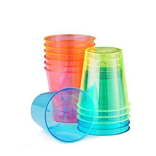 Paquete de 300 Copas para Chupitos de Plástico– Accesorio de Fiesta Neon – Vasos para Shots Desechables – Copita de 30ml 3,9x4cm – Articulo de Vajilla para Bebidas en Casa, Al Aire Libre