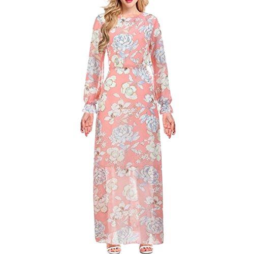 Moonuy Frauen Art und Weisefrühlings Herbst Blumendruck Chiffon Kleid beiläufige Partei tägliche lange Sleeved Maxi kleidet elegantes dünnes Strand Kleid (L, (Kostüm Stadt Party Mal)