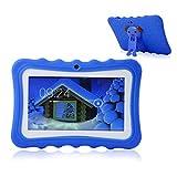 TEEPAO, Tablet Touch per Bambini, Tablet da 7 Pollici WiFi, Android 4.4, IPS HD 1024 x 600, Custodia in Silicone, Supporto per Tablet con Fotocamera Blu