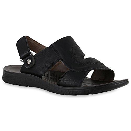 Herren Komfort Sandalen Bequeme Freizeit Schuhe Lederoptik Schwarz Camiri