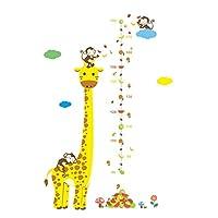 Kids Growth Height Chart Vinly Sticker Removable Nursery Wall Art Decals Nursery Room Owl Tree Monkey Giraffe Pattern