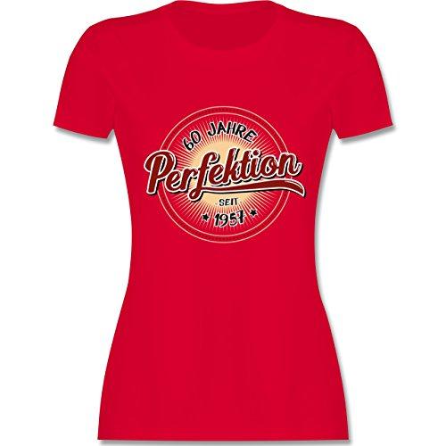 Geburtstag - 60 Jahre Perfektion seit 1957 - tailliertes Premium T-Shirt mit Rundhalsausschnitt für Damen Rot