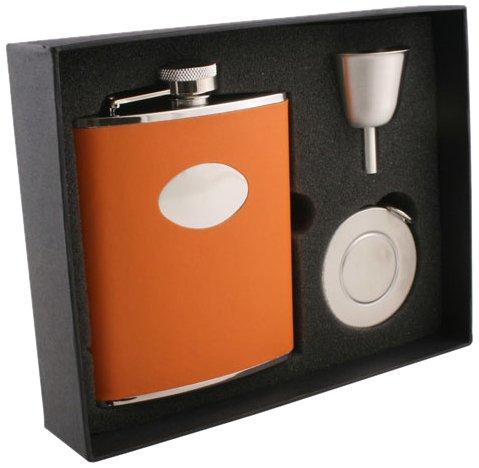 visol-sunbeam-leather-stellar-flask-gift-set-6-ounce-orange