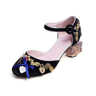 Sommer Schuhe Damen Sandalen Büro Kleid Lässig-Seide-Blockabsatz-Club-Schuhe-Schwarz Blau Rosa Blue