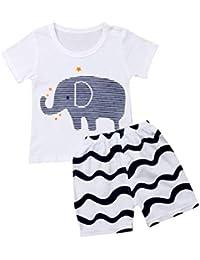 a646a0572d208 Eghunooye Bébé Garçon Vêtements Ensembles éléphant ImpriméT-Shirt à+ à  Rayures Short