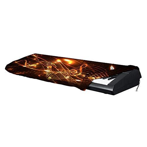 Klaviertastatur-Abdeckung, dehnbarer Spandex, staubdichte Abdeckung mit verstellbarem Kordelzug für elektronische Tastatur, schwarzer Druck mit buntem Musik-Symbol, passend für 61/88 Tasten #D