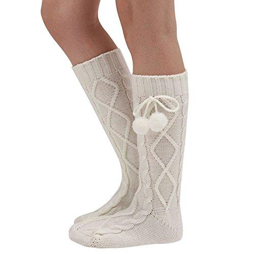 Goosuny Damen Stricksocken 1 Paar Gestrickte Strumpf Lange Stiefel Socken Warme Dicke Füßlinge Sneakersocken Strapsstrümpfe Elegant Einfarbig Strick Wintersocken(Weiß)