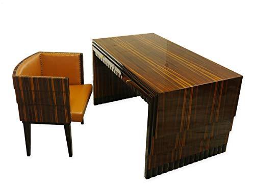 Antike Fundgrube Louis Majorelle Art Deco Schreibtisch + Stuhl Makassar Edelholz um 1920 (9077)