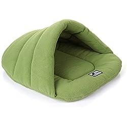 Ltuotu 4 tamaño de perro suave y cómodo lindo para el saco de dormir cama nido interior de la perrera perros pequeños gato del gato del saco de dormir de fibra de bambú cuatro estaciones (verde, M)