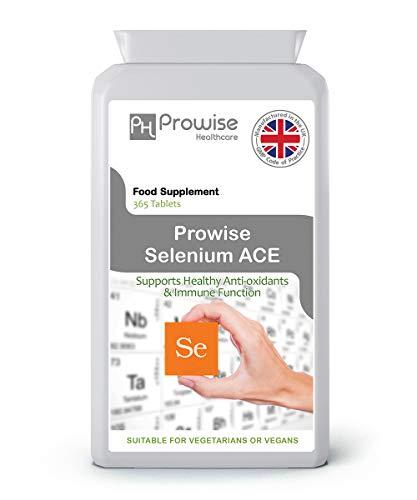 Compresse di selenio ACE 365 -Supplemento di selenio giornaliero al giorno con vitamine A, C ed E - Prodotto nel Regno Unito secondo la qualità garantita GMP - Adatto a vegetariani e vegani