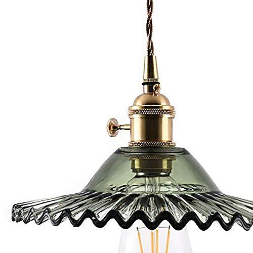 n regenschirm kronleuchter, kupfer lampe glas lampenschirm hängen linie einstellbar dekorative beleuchtung bar wohnzimmer einzigen kopf kronleuchter (Color : Green) ()
