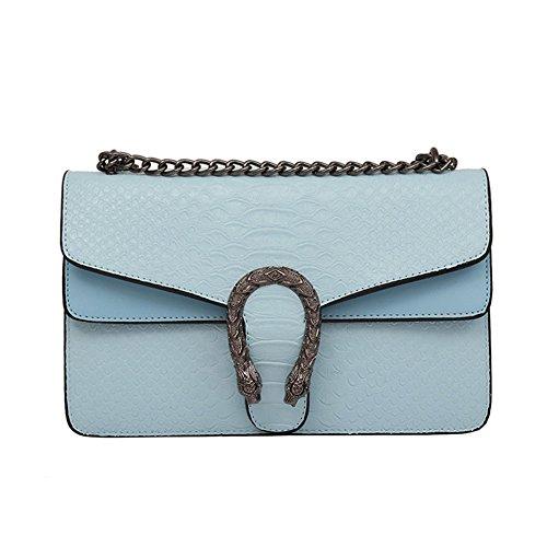Windwelle Damen PU Leder Quadratische Kette Handtasche Schultertasche Messenger Bag Umhängetasche Von Elelife-Geschäft (Hellblau- L)