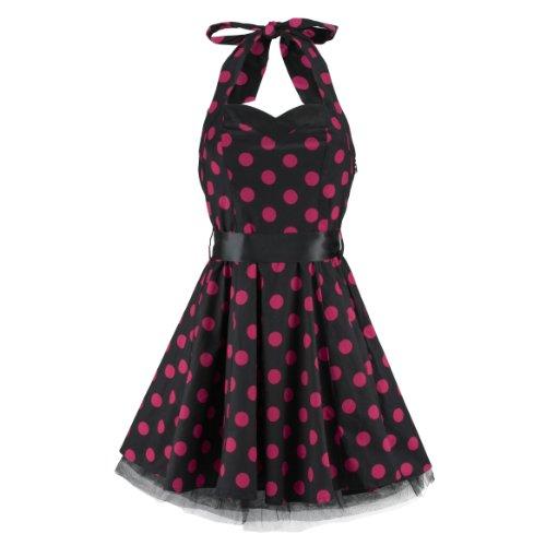 H&R London Robe BIG DOTS SHORT DRESS noir-Rose noir-Rose