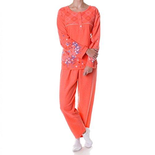 46//48 Langarm Fleece Pyjama Nachtwäsche Damen Schlafanzug Größe 42//44