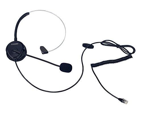 Coodio Teléfono Fijo Auriculares [Manos libres] RJ9 4P4C Monaural Auricular con Micrófono [Cancelación de Ruido] Headset Para Oficina y centro de llamadas Teléfono - Negro