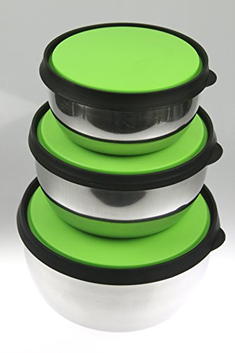 india-bazaar-3pc-set-stainless-steel-storage-bowls-with-air-tight-coloured-plastic-lids-food-contain