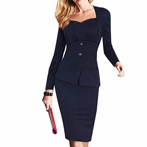 square-collar-manica-lunga-bodycone-vestiti-dalla-matita-lay-ol-cotone-slim-a-tre-pulsanti