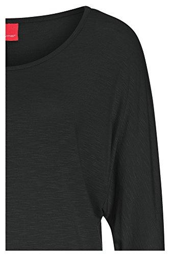LIVRE Damen Oversize-Shirt mit 3/4 Arm Oberteil Longsleeve Top Sweater casual Rundhals Schwarz