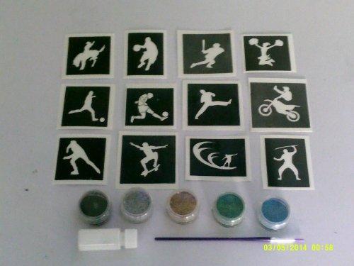 Tattoo-Set mit Schablonen + glitter + Kleber Fußball Surfen Skateboarder ()