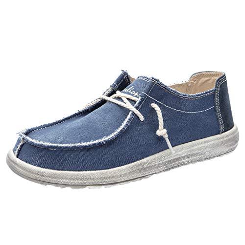Herren Freizeitschuhe, Müßiggänger rutschfest Segeltuchschuhe Flache Schuhe Stretch Tuch Schuhe Bequem Leichtgewicht Laufschuhe Turnschuhe Fitnessschuhe Sneaker Atmungsaktiv44 EU(Blau)