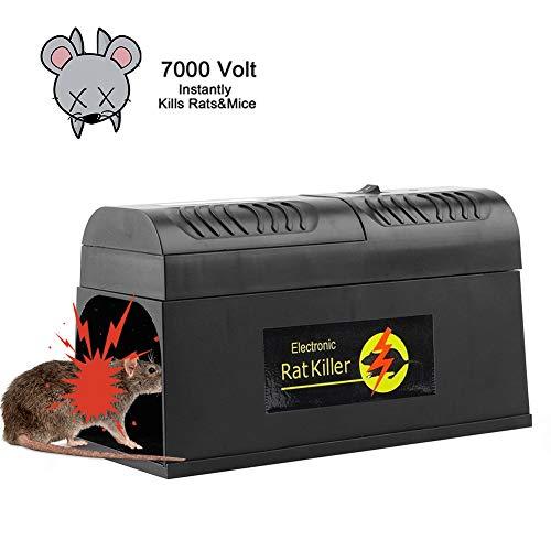 Mallalah Piège à Rongeurs Souris Electronique Éliminateurs à Haute Tension pour Le Rat Écureuils Non Toxique Déclencheur Rongeur Intérieur Répulsif