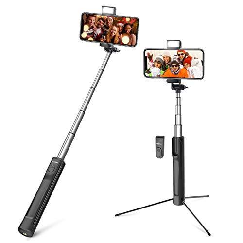 Bastone Selfie Treppiede Bluetooth, BlitzWolf 3 in 1 Selfie Stick Alluminio Espandibile Wireless Asta Selfie con Luce di Riempimento per iPhone XS MAX XR X 8 8 Plus 7 7 Plus 6, Android, ecc