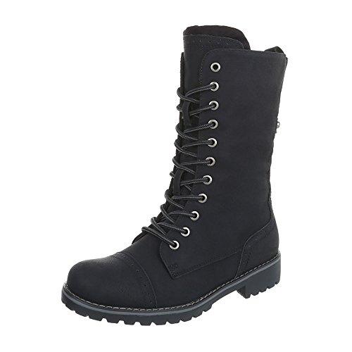 Stiefel & Boots Kinder-Schuhe Klassischer Stiefel Blockabsatz Mädchen Reißverschluss Ital-Design Stiefeletten Schwarz, Gr 36, 7387-1- (Boot Mädchen Winter)