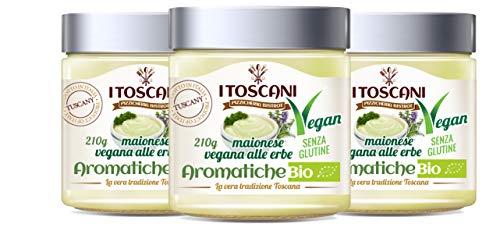 Maionese Vegana BIO alle erbe aromatiche, 3 confezioni da 210 g - i Toscani - Agrifood Toscana, Senza GLUTINE, senza CONSERVANTI aggiunti, italia