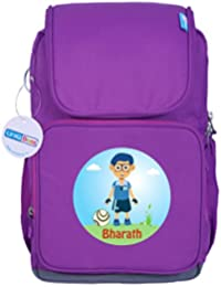 UniQBees Personalised School Bag With Name (Smart Kids Large School Backpack-Purple-Football 1)