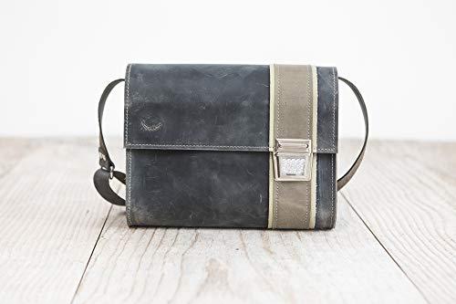 Unisex Tasche echt Leder grau Umhängetasche Postmanbag Tasche für Büro & Freizeit 5 Größen