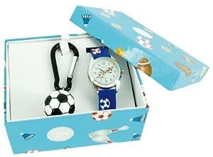 Shivas - A20980-008 - Coffret Cadeau - Montre Garçon - Quartz Analogique - Cadran Blanc - Bracelet Silicone Bleu + Porte-clé Football
