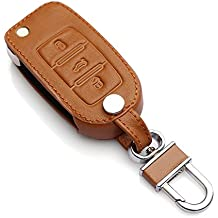 9 MOON® High Quality leather,Compact and delicate design, soft and durable. Car Remote Key Holder Case Cover,3D Wallet Key Remote Case fit Volkswagen Vw Polo Passat B5 B6 Golf 4 5 6 Jetta Mk6 Tiguan Gol Crossfox Plus Eos Scirocco Beetle Brown