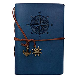 AiSi A5 Vintage Refillable Notebook Premium PU Leather Classic Embossed Travel Journal Diary with Blank Pages and Retro Pendants-Deep Blue