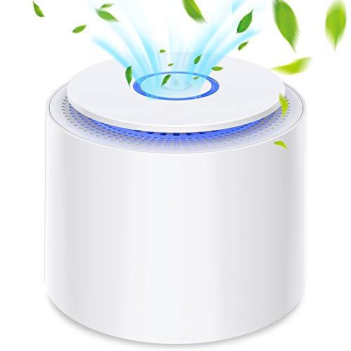purificador de aire portátil con filtro hepa verdadero, sin ozono, usb filtro de aire de escritorio con luz nocturna y función de aromaterapia, eliminar polvo, polen, humo, olor, caspa de mascotas
