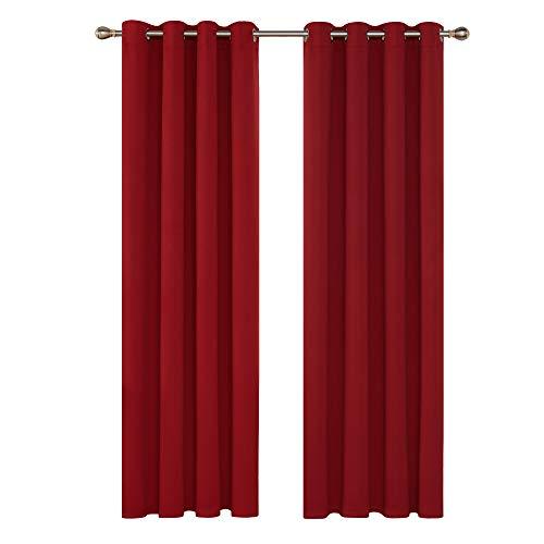 Deconovo tende oscuranti termiche isolanti con occhielli per finestre soggiorno interni 168x229cm 2 pannelli rosso