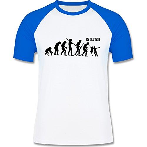 Evolution - Tanz Evolution - zweifarbiges Baseballshirt für Männer Weiß/Royalblau