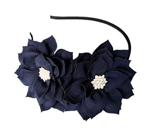 Fascinator Stirnband Haarspange Lotus Blume Braut Hochzeitsfeier Cocktail Headwear (Navy blau)