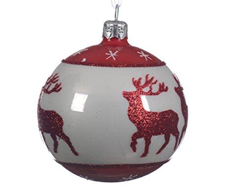 Albero di natale decorazione-bianco con dettagli glitter renne rosso tondo nordic decorazioni per albero di natale in vetro soffiato a mano-8cm
