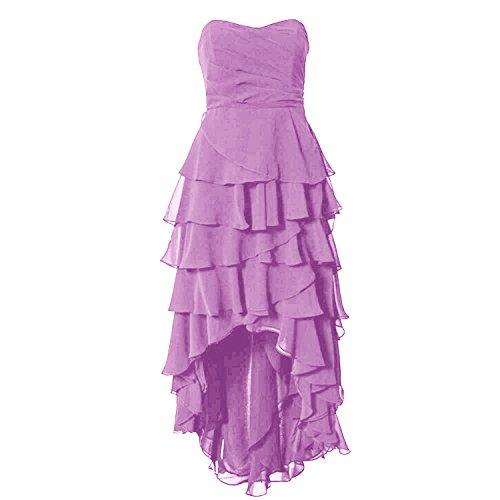 Find Dress Robe de Soirée Asymétrique Longue Robe Cocktail/Cérémonie Multicouche Ourlet sans Manches en Mousseline Col en Cœur Lilas
