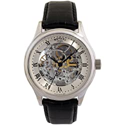 Rotary Men's Automatic Watch with Silver Dial Analogue Display and Black Leather Strap GS02518/06
